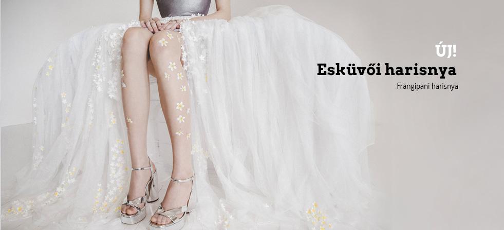 Frangipáni virágos esküvői harisnya