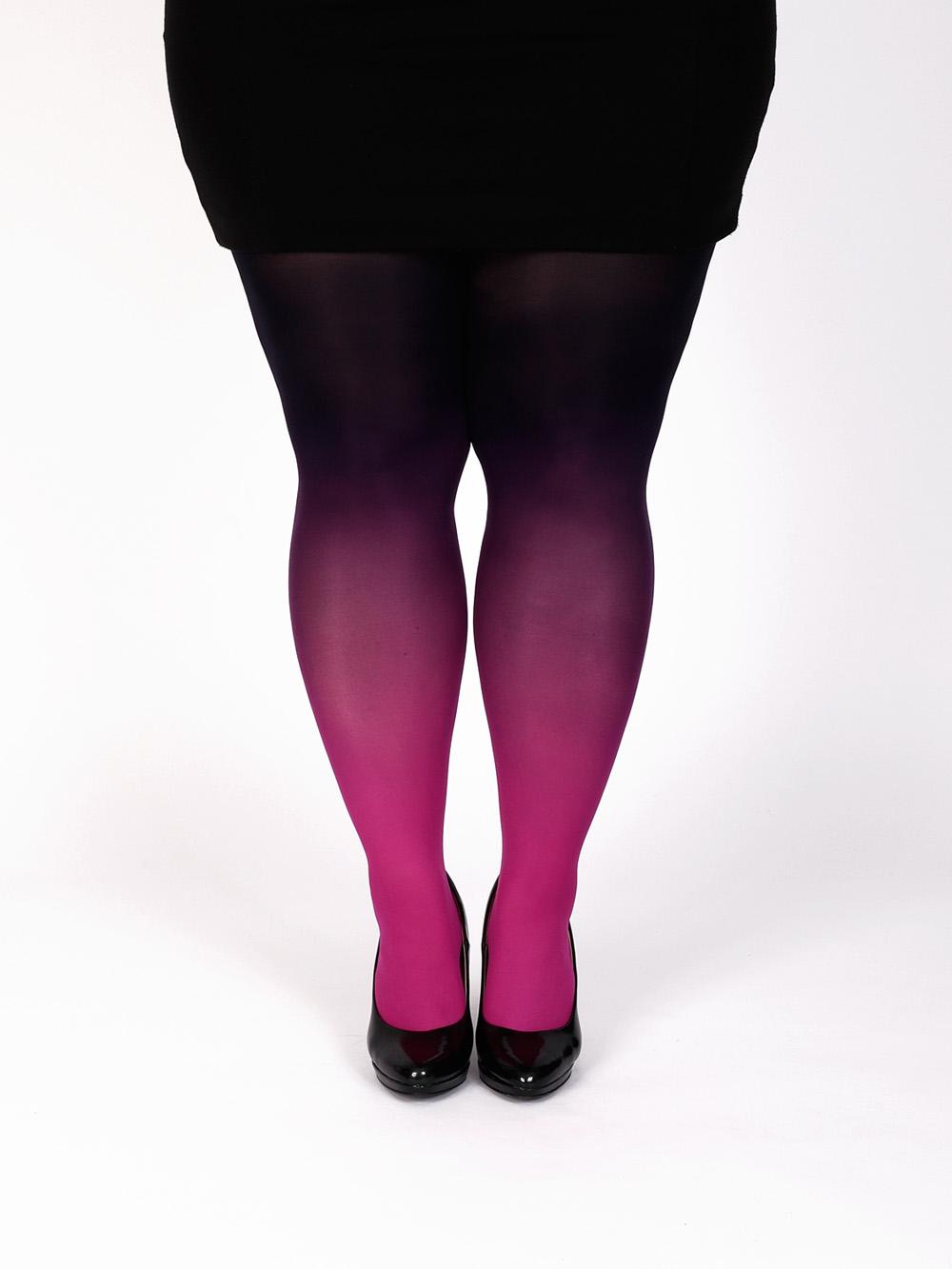 Plus Size Magenta Fekete Színátmenetes Harisnya