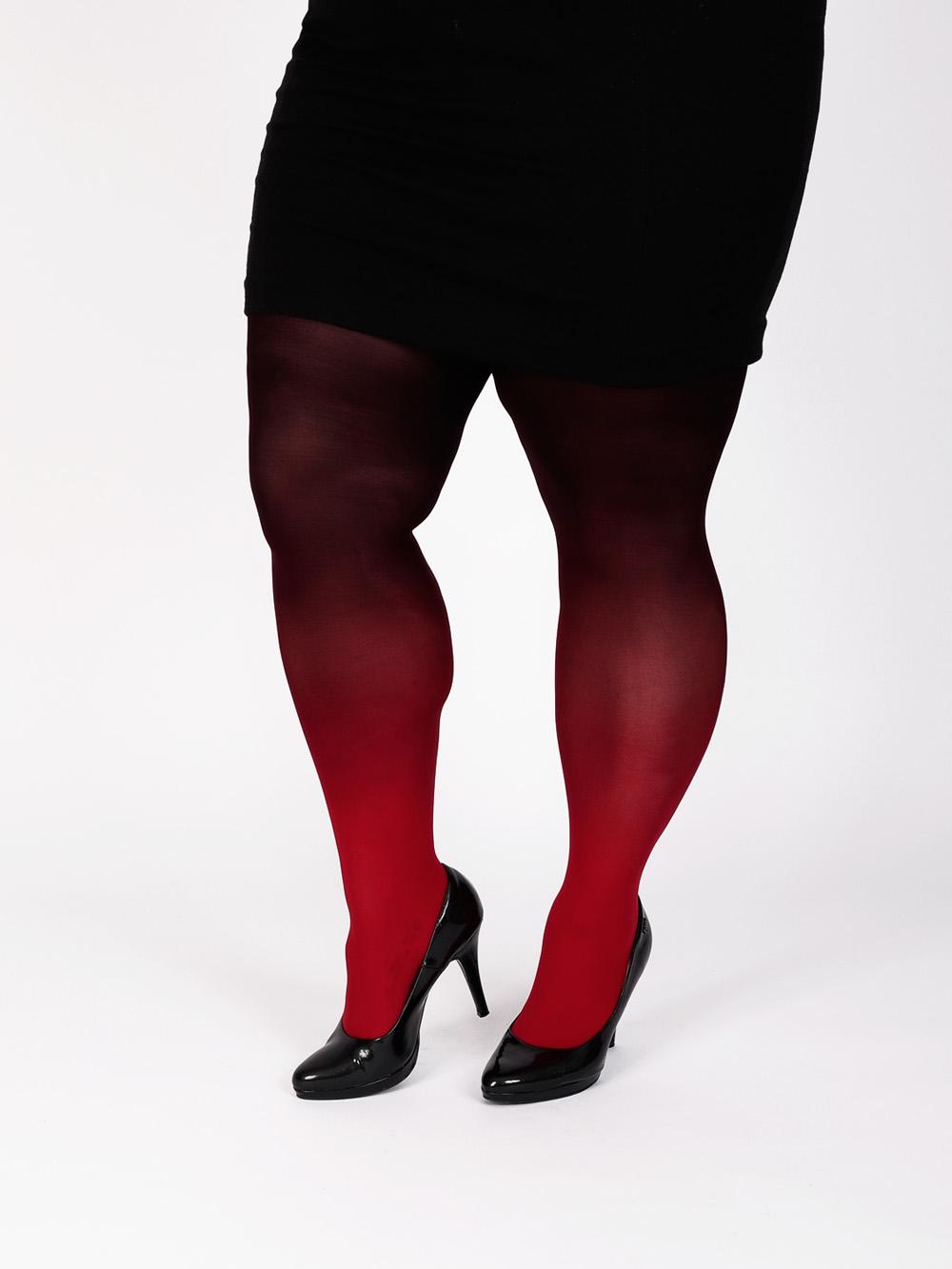 Plus Size Piros Fekete Színátmenetes Harisnya