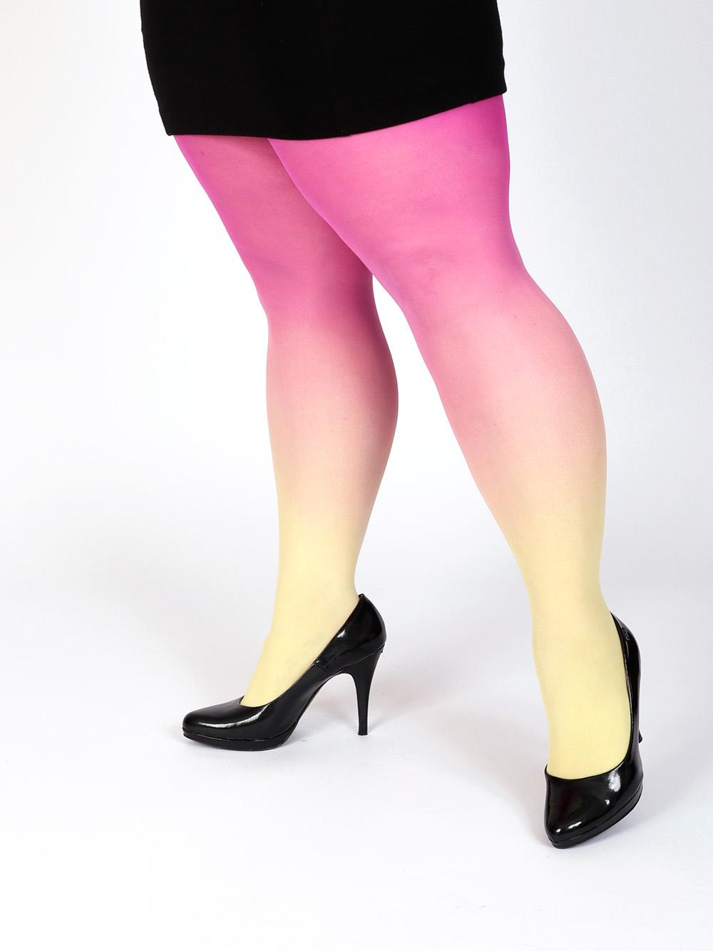 Plus Size Sárga Magenta Színátmenetes Harisnya