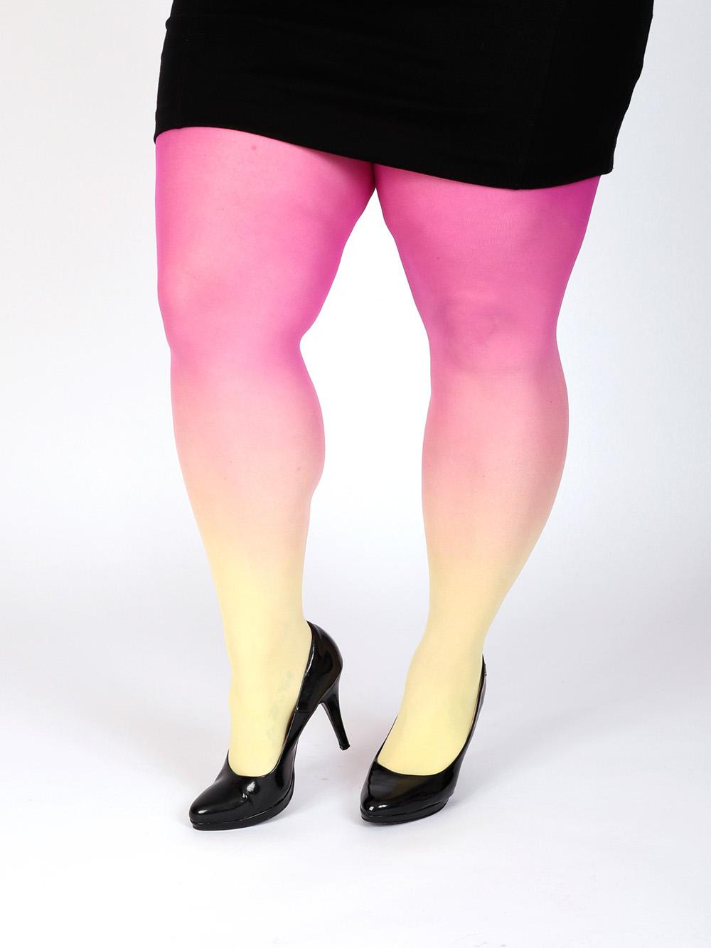 Plus Size Sárga-magenta Harisnya