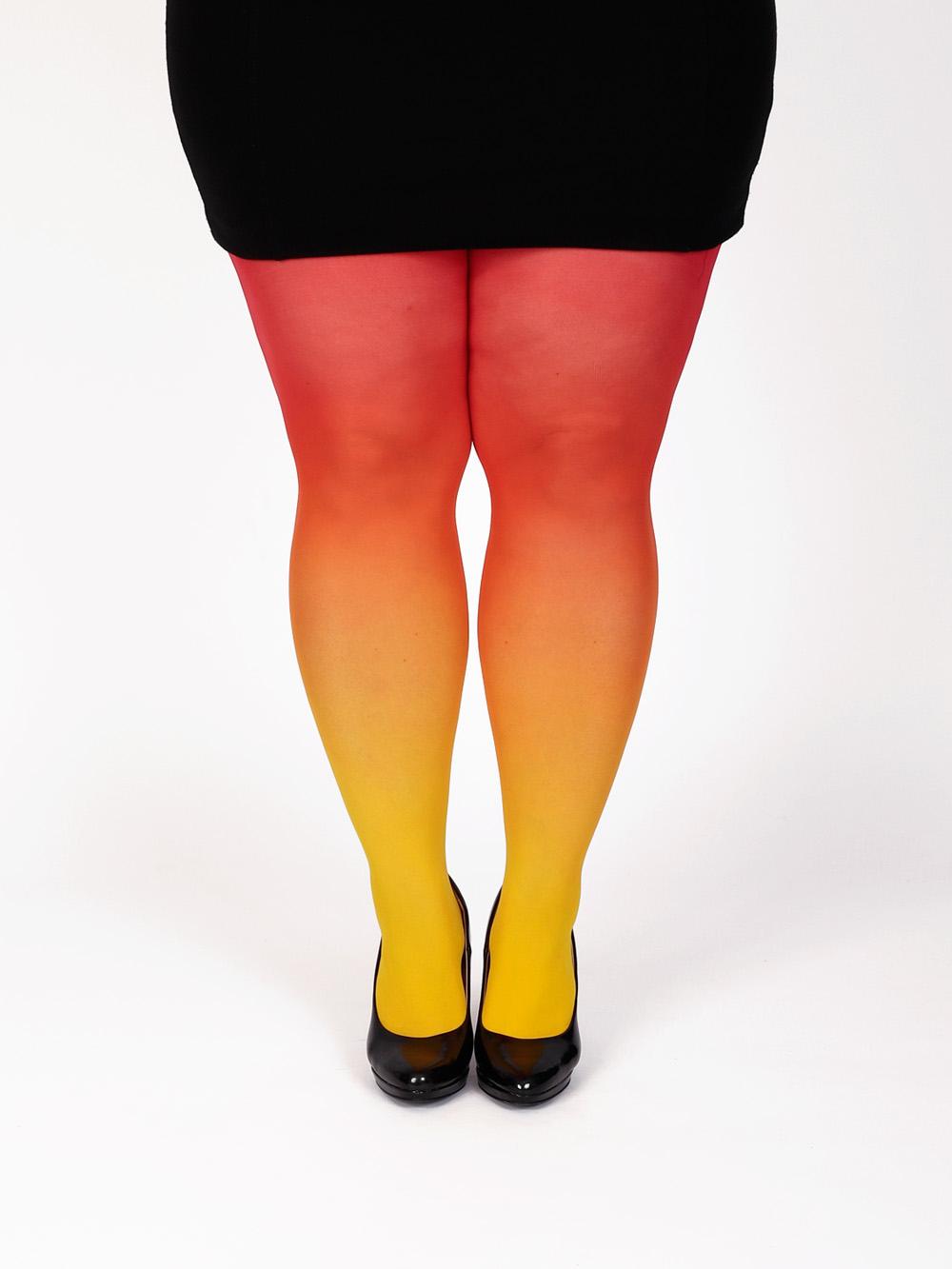 Plus Size Sárga Piros Színátmenetes Harisnya