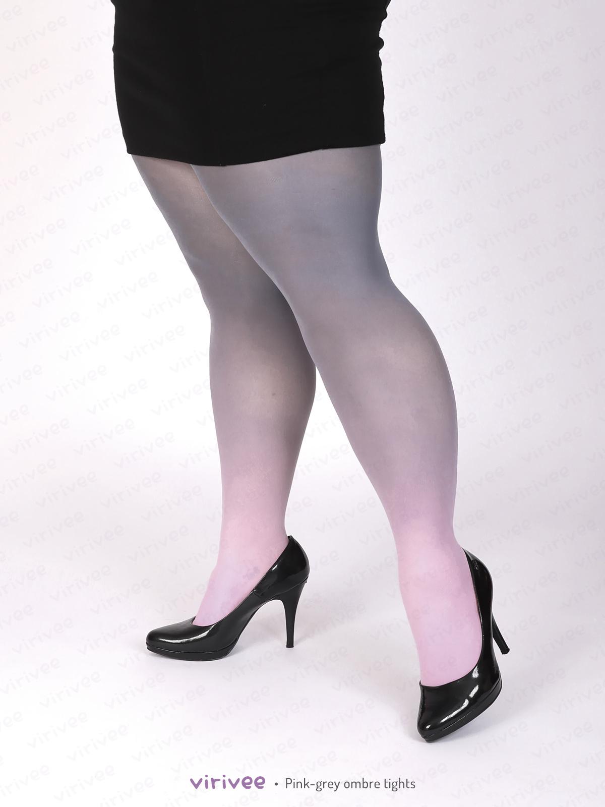 Rózsaszín Szürke Plus Size Színátmenetes Harisnyanadrág
